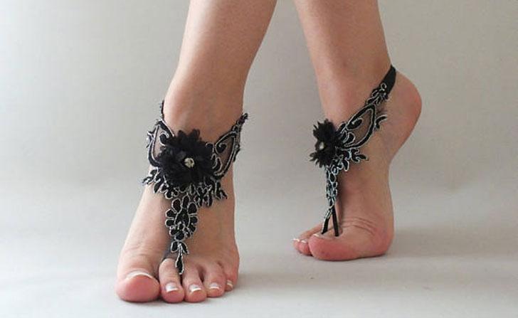 Bohemian Black Lace Barefoot Sandals