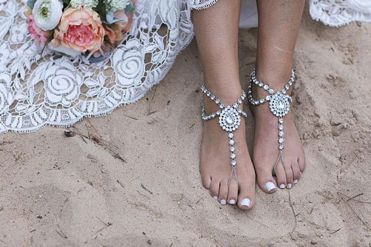 Boho Bride Beach Wedding Barefoot Sandals Aisle