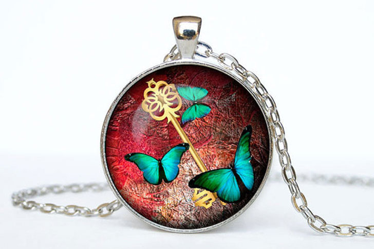 Butterfly and Key Steampunk Pendant