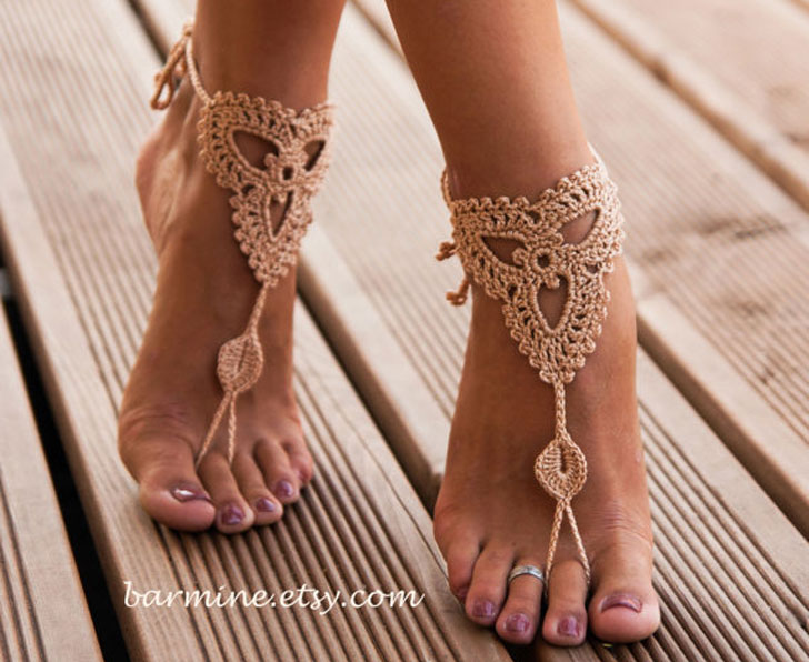 Champagne Barefoot Sandals