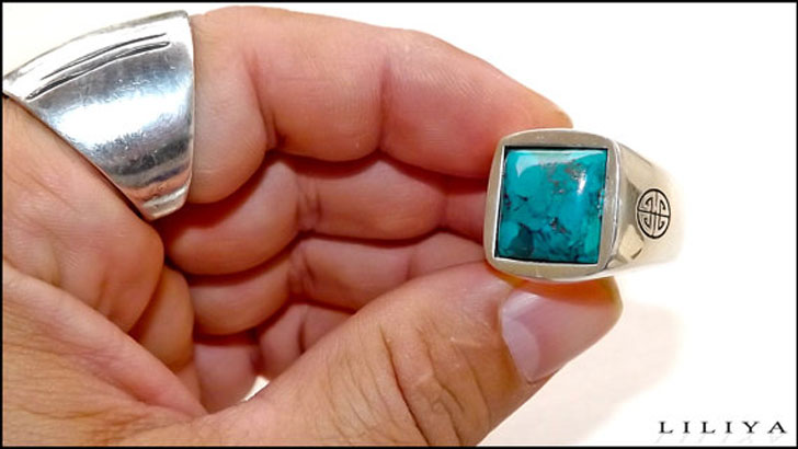 Chunky Men's Turquoise Gemstone Ring