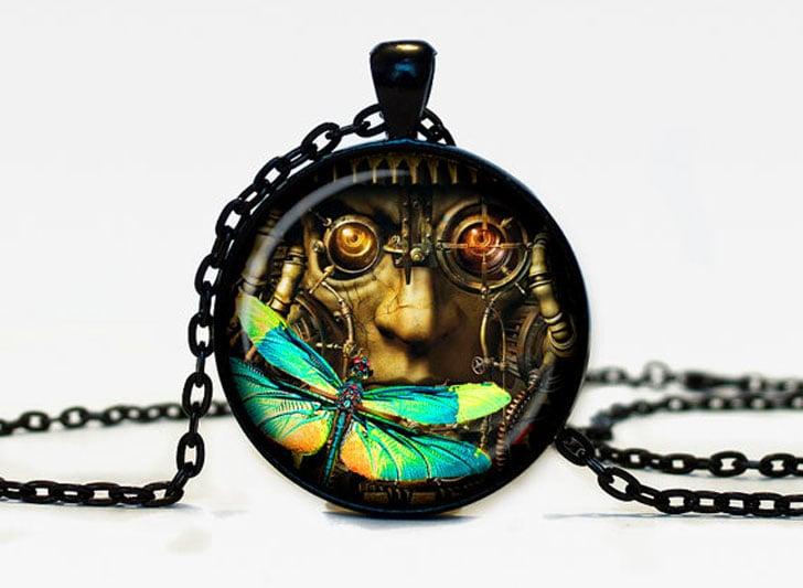 Cosmic Dragonfly Steampunk Pendant