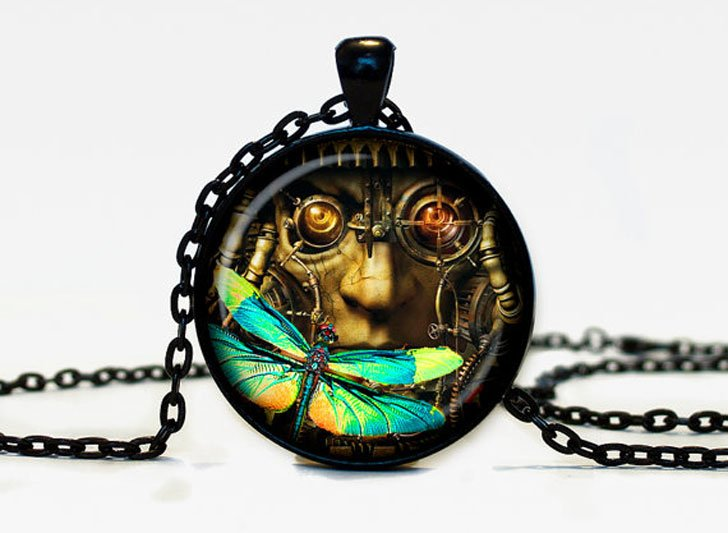 Cosmic Dragonfly Steampunk Pendant