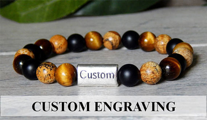 Custom Engraved / Personalized Men's Beaded Bracelets