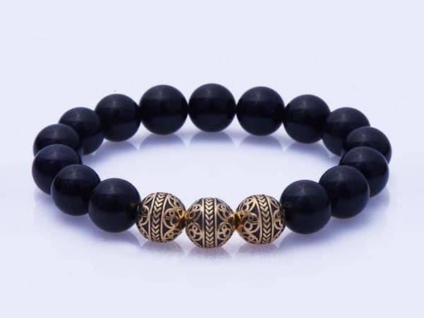 Enamel Gold Obsidian bracelet