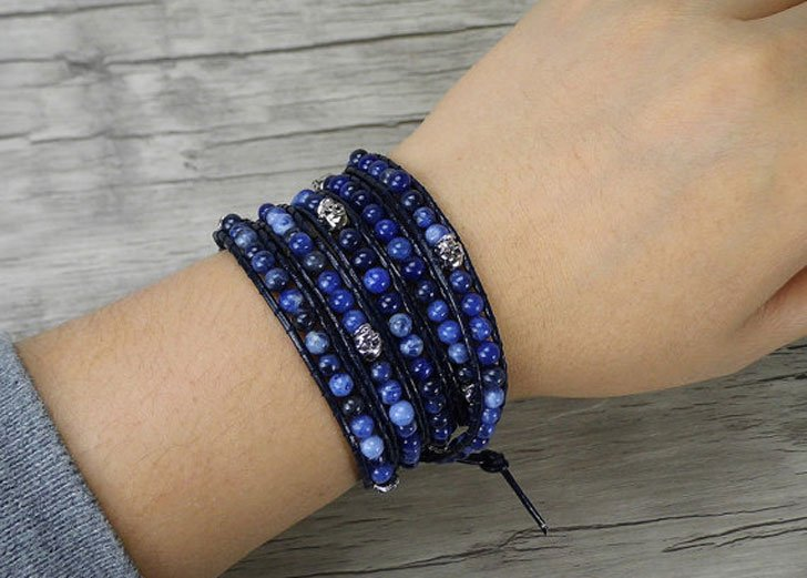 Five Wraps Sodalite Beaded Bracelet