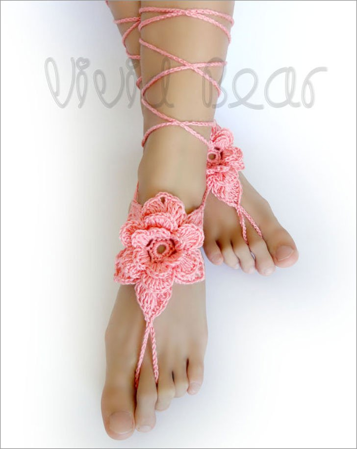Floral Crochet Peach Barefoot Sandals Flower Girl