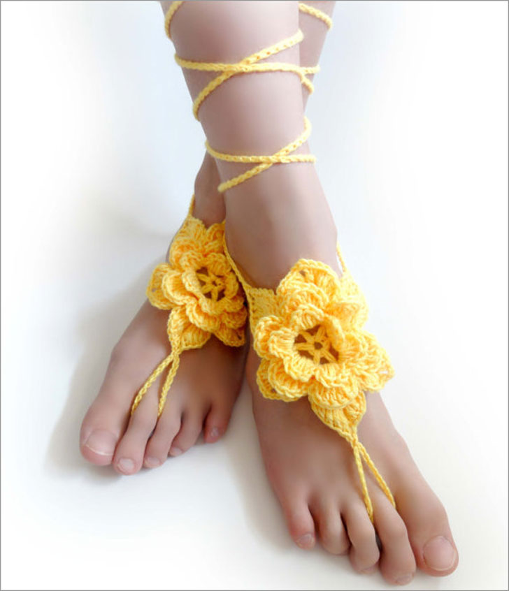 Floral Yellow Barefoot Sandals For Brides