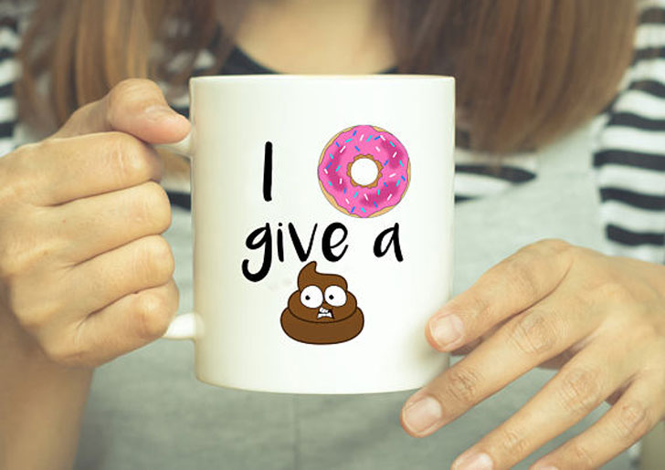 Funny Donut and Poop Emoji Mug - Funny Coffee Mugs