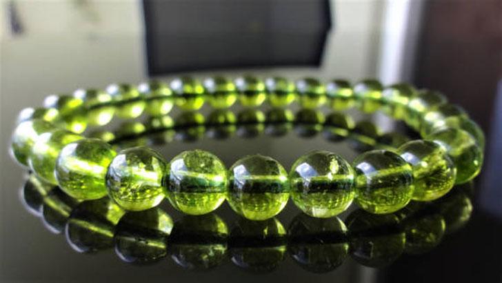 Genuine Green Peridot Bead Bracelet for Men