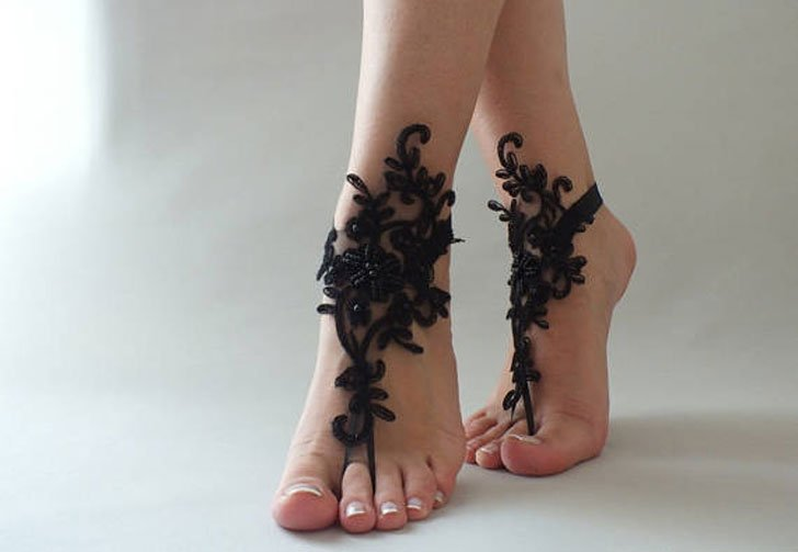 Gothic Black Lace Barefoot Sandals Bridesmaids