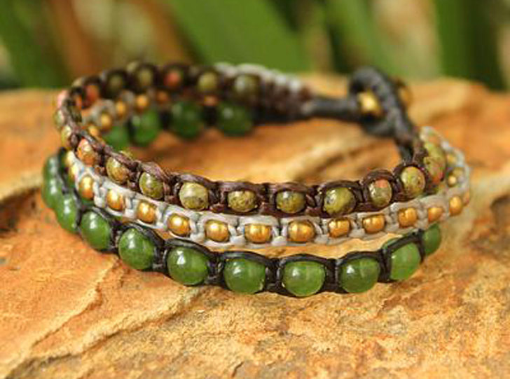 Hand Crafted Unakite Beaded Bracelet