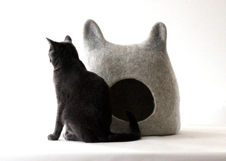 Handmade Light Grey Cat Cave