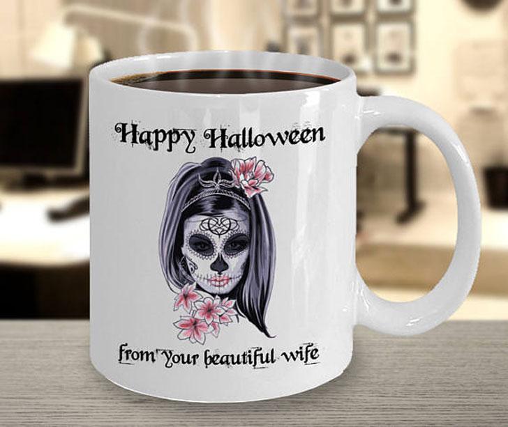 Happy Halloween Skull Calavera Mug
