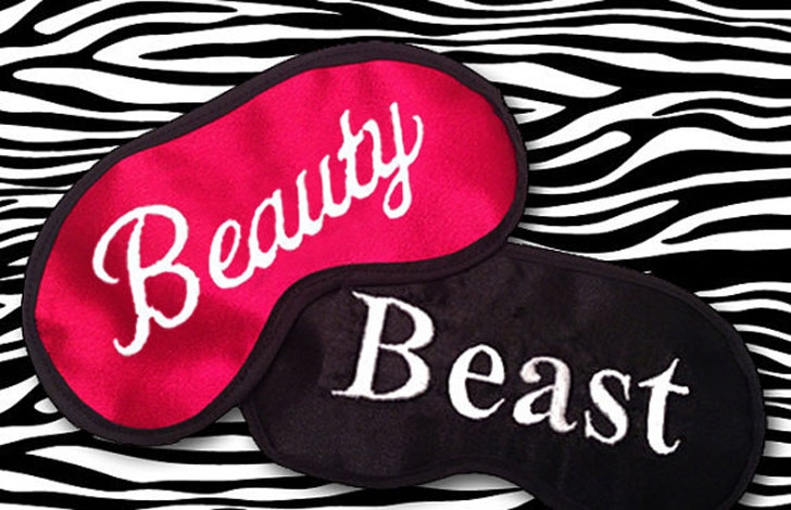 His and Hers Beauty and Beast Sleeping Masks - Cute sleeping masks