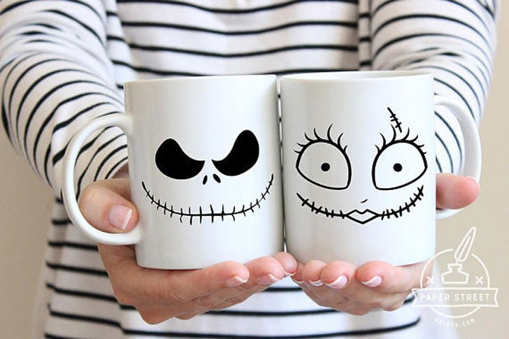 His and Hers Couples Halloween Mugs