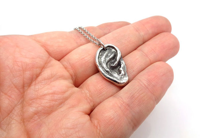 Human Ear Pewter Pendant - unusual necklaces
