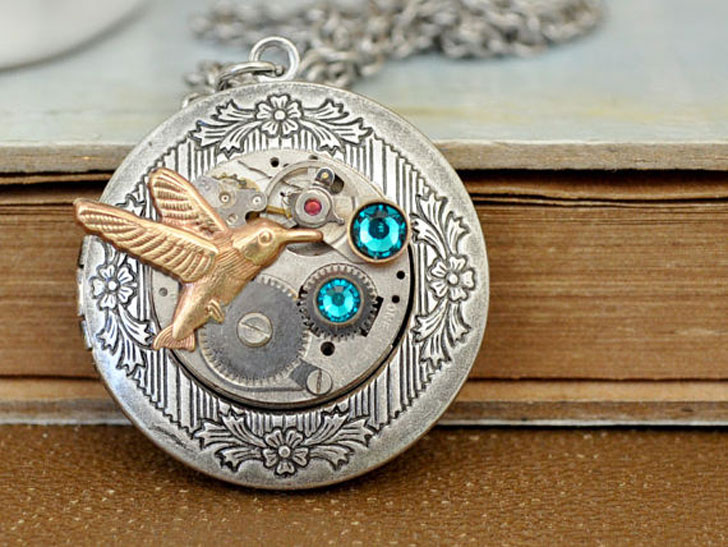 Hummingbird Steampunk Necklace