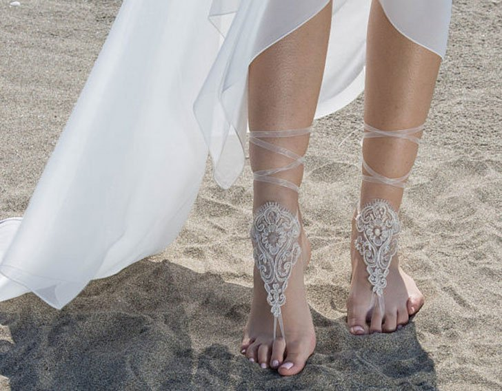 Ivory Tan Barefoot Sandals Wedding Dress