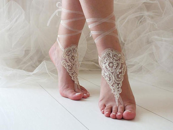 Barefoot Wedding Sandals Bride and Bridal Party