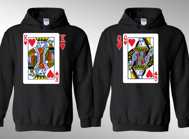 King and Queen Cards Hearts Hoodies