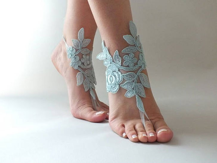 Lace Barefoot Bridesmaids Sandals Bride and Groom