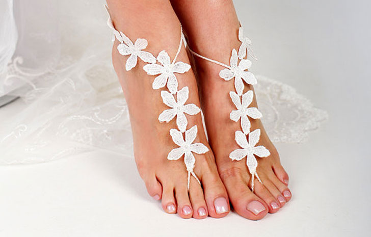 Lace Barefoot Footless Sandals