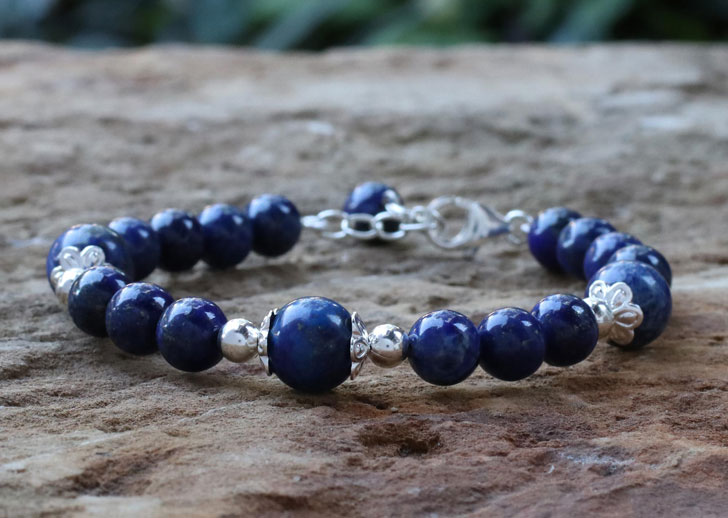 Lapis Lazuli and Sterling Silver Beaded Bracelet