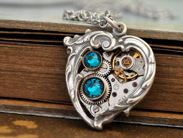 Mechanical Blue Heart Steampunk Pendant Necklace