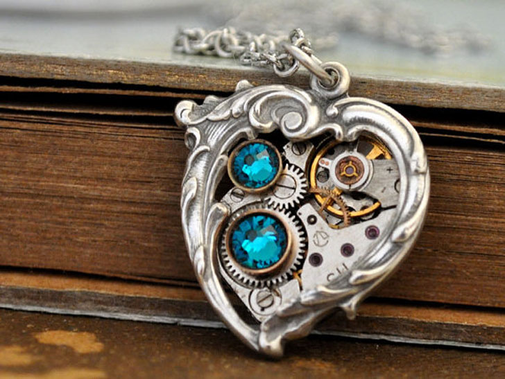 Mechanical Blue Heart Steampunk Pendant Necklace