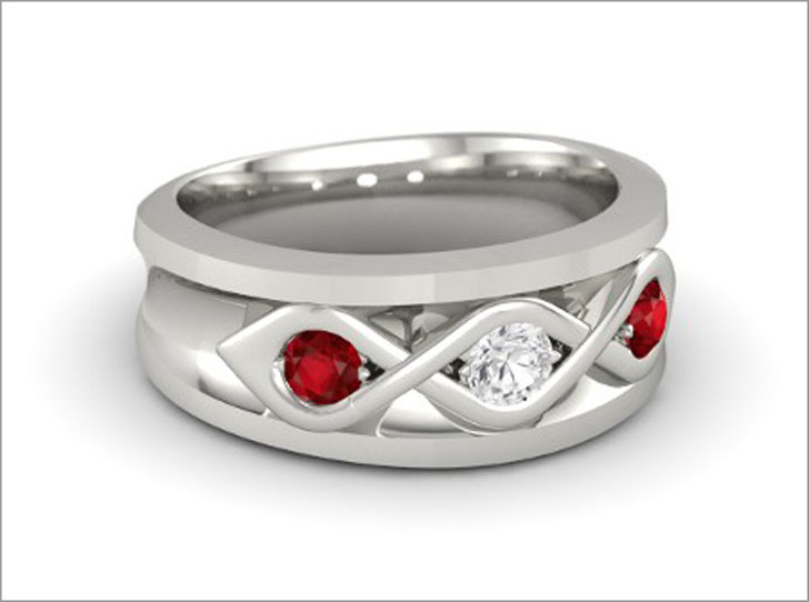 Men's 14k White Gold with White Sapphire & Ruby Gemstone Ring