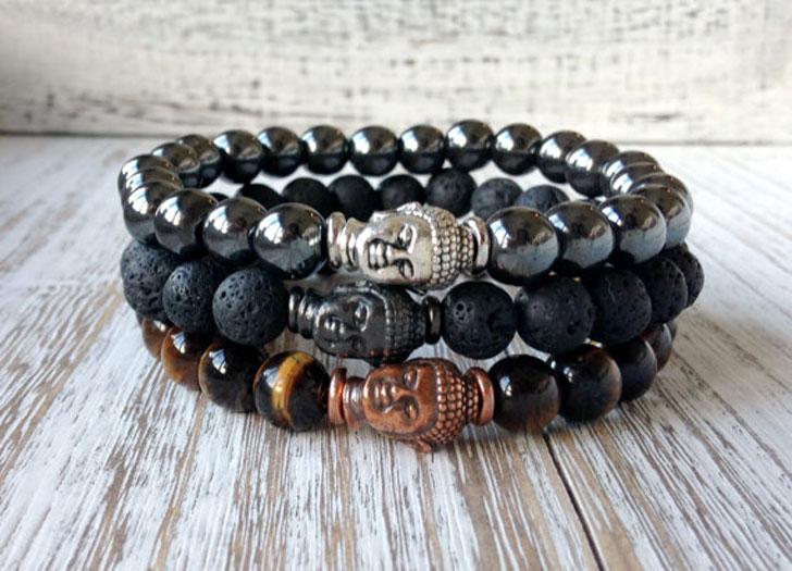 Men's Buddha Stack Breaded Bracelet
