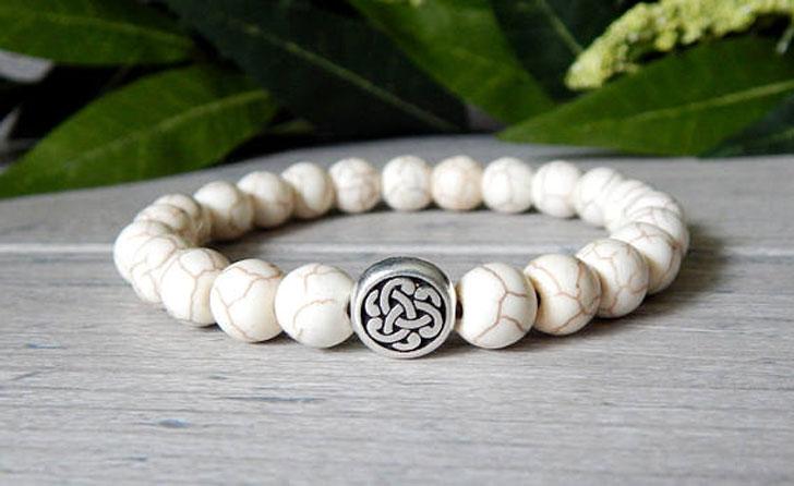 Men's Celtic Knot White Beaded Bracelet