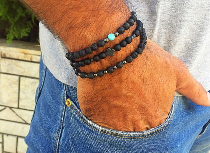 This Simple Black Bracelet Seems To Have A Personality Of Its Own Without Having Try Too Hard Notice How The Perfectly Cross And Turquoise Elements