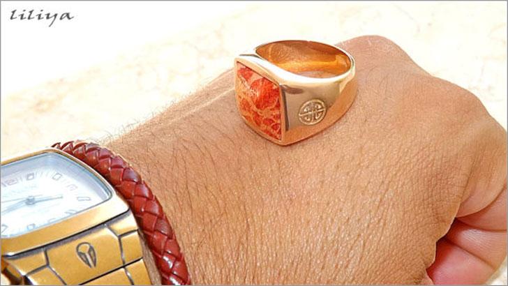 Men's Coral Gemstone Ring