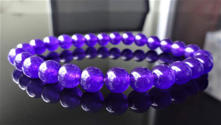 Men's Genuine Dark Purple Jade Bracelet