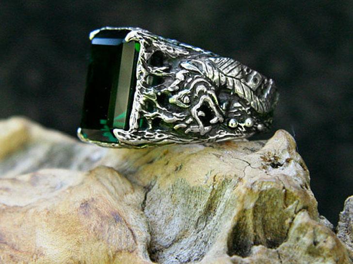 Men's Green Quartz Sterling Silver Dragon Ring
