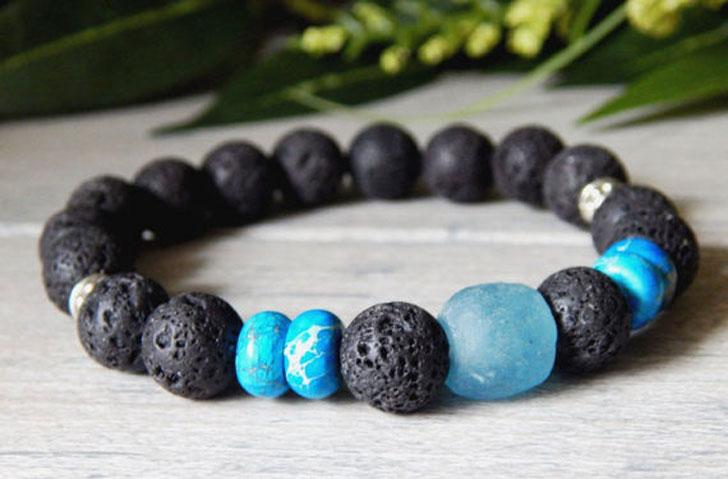 Men's Lava Rock Krobo Bracelet