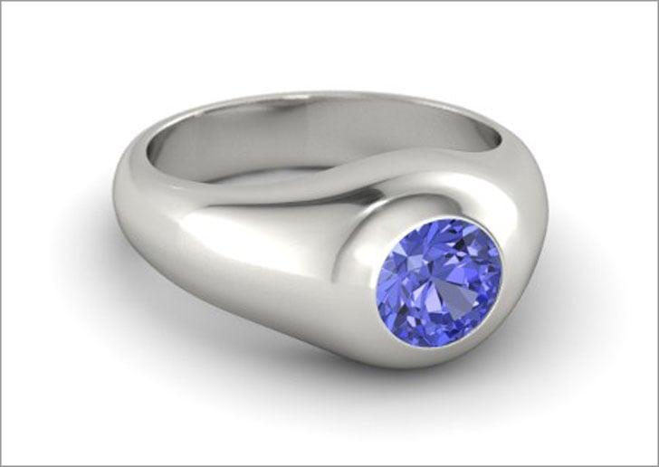 Men's Platinum and Tanzanite Gemstone Ring
