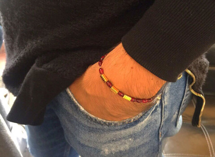 Men's Red Bead Minimal Beads Bracelet