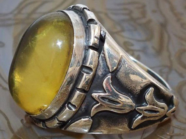 Men's Ring Sterling Silver with Baltic Amber - Men's Gemstone Rings