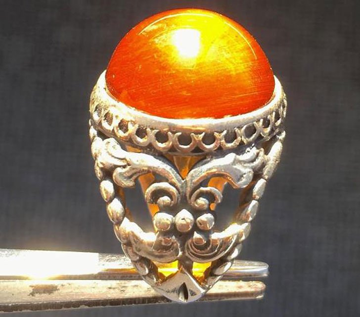 Men's Ring Sterling Silver with Fire Amber Ring