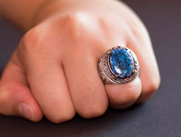 Mens Sterling Silver Aquamarine Gemstone Ring - Men's Gemstone Rings