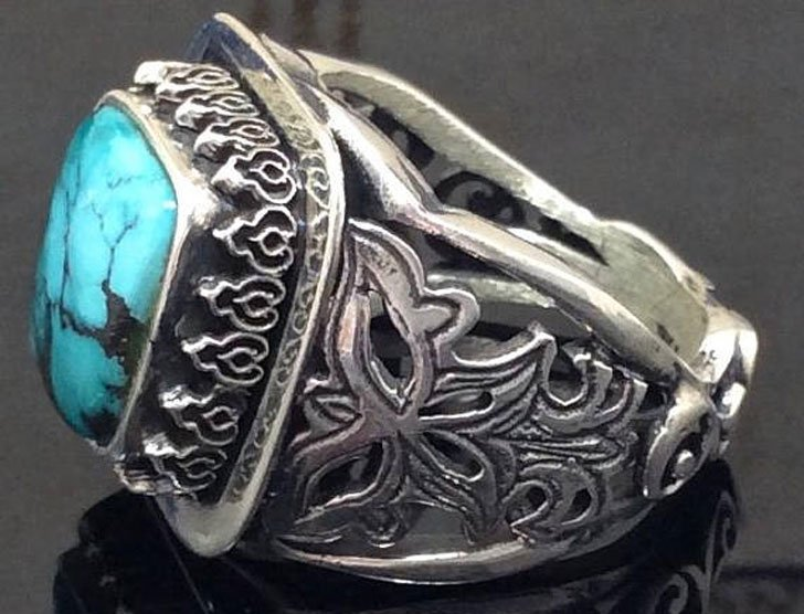 Men's Sterling Silver Persian Turquoise Gemstone Ring