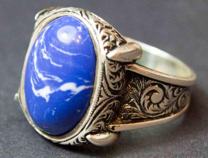 Men's Sterling Silver Sodalite Stone Gemstone Ring