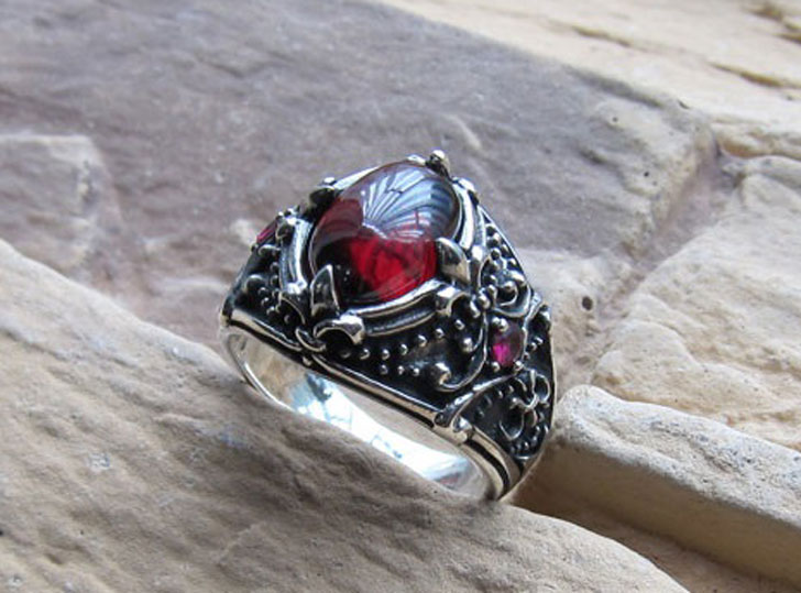 Men's Sterling Silver Vintage Artichoke Gemstone Ring