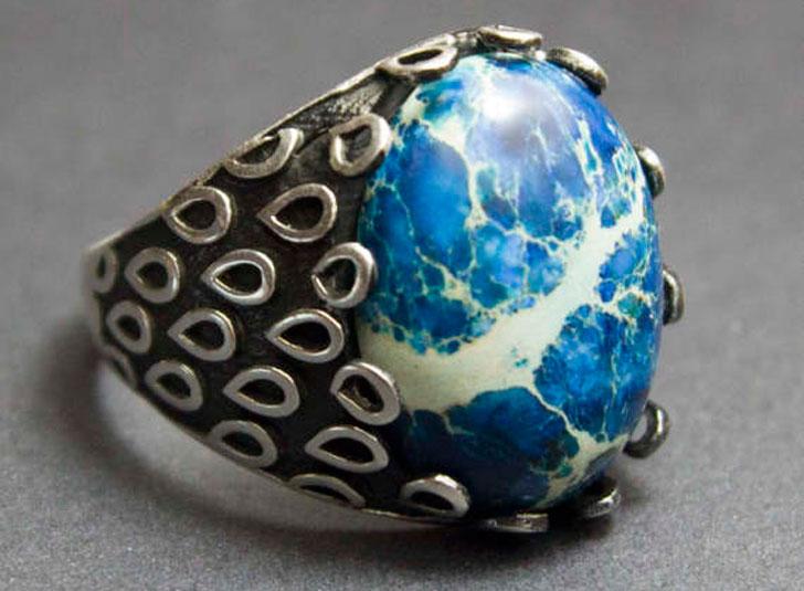 Men's Sterling Silver and Natural Jasper Gemstone Ring- Men's Gemstone Rings