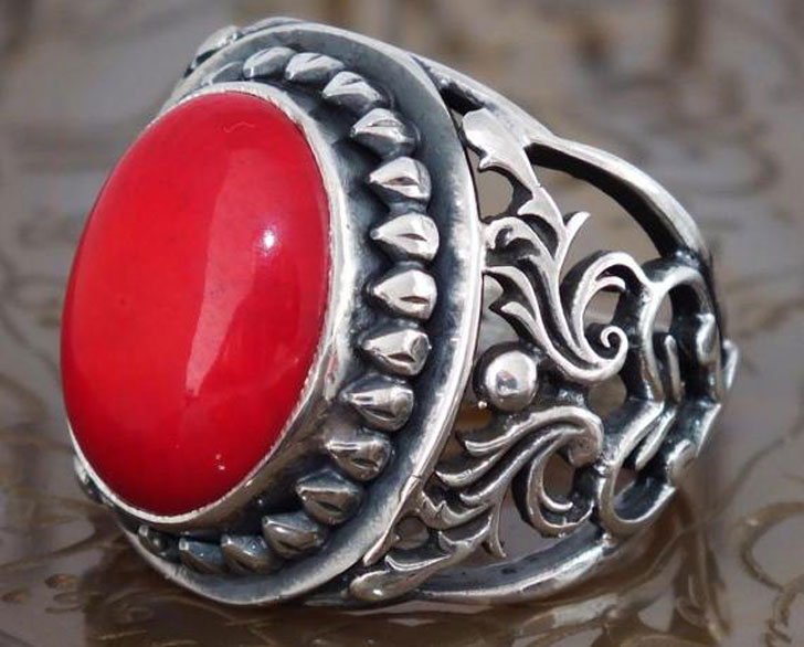 Men's Sterling Silver with Coral Gemstone Ring - Men's Gemstone Rings