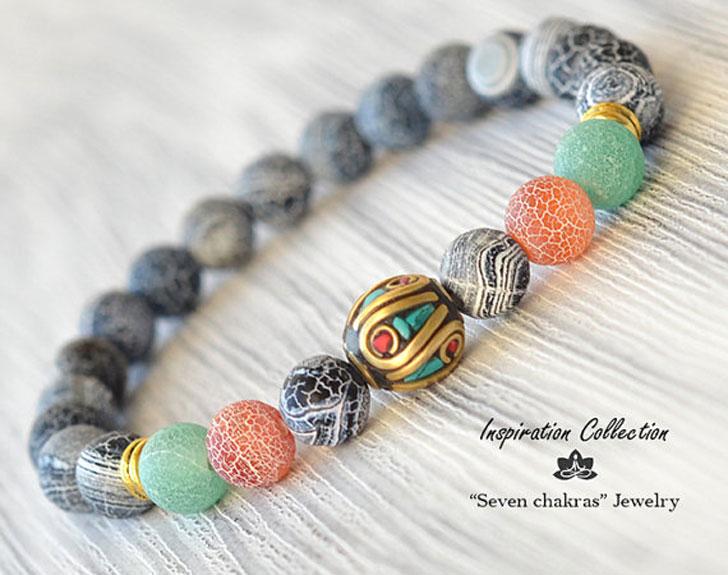 Men's Tibetan Style Beaded Bracelet