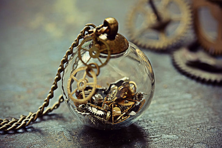 Mini Glass Orb Watch Parts Steampunk Pendant